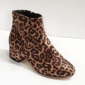 NWB Leopard Ankle Booties - Stack Heel / Round Toe